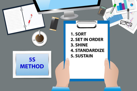 Top view of the office desk with office supplies. Hands are holding a paper with 5S Kaizen Method  text. All potential trademarks are removed. Illustration