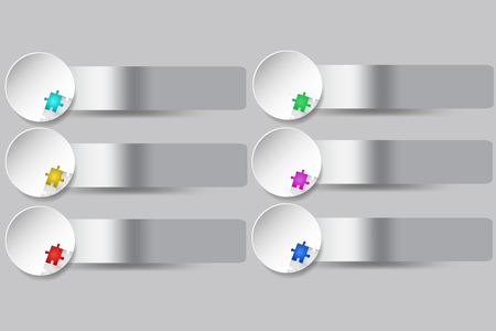 Six white circles with color puzzles and metallic silver edges ready for your text