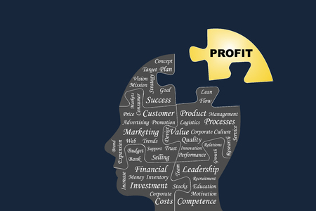 Silhouette of the head of a manager divided by puzzle into main business management processes. The yellow part of puzzle with the sign profit is outside this silhouette all on the dark background.