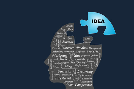 Vector containing silhouette of the head of a manager divided by puzzle into main business management processes. The blue part of puzzle with the sign Idea is outside this silhouette all on the dark background.