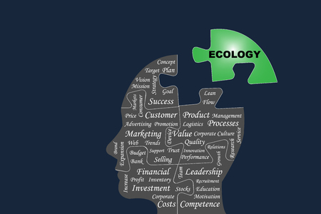 Ecological thinking business concept vector showing silhouette of the head of a manager divided by puzzle into main business management processes. The green part of puzzle with the sign Ecology is outside this silhouette all on the dark background.