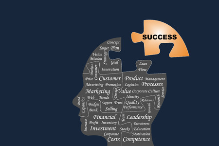 Silhouette of the head of a manager divided by puzzle into main business management processes. The golden part of puzzle with the sign Success is outside this silhouette all on the dark background. Illustration