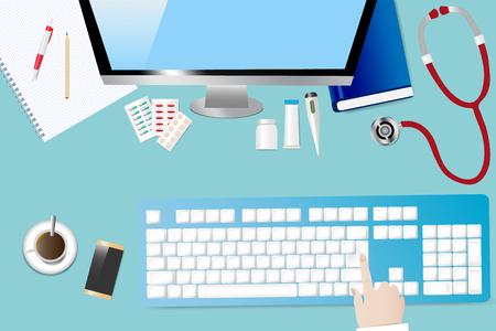 Vista superior de una mesa médica con accesorios médico. El dedo está tocando el teclado de la computadora. Todas las marcas comerciales potenciales se eliminan.