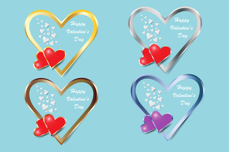 Set of four metal frame hearts of Valentines Day or wedding day