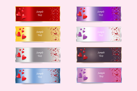 Set of colorful metal banners of Valentines Day or wedding day with hearts and free place for your text