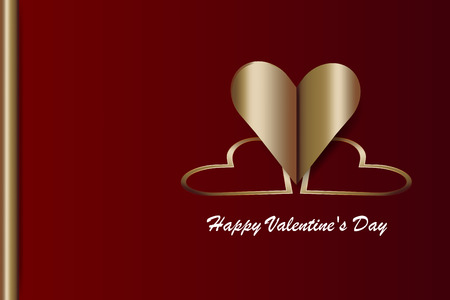 Valentines Day background with metal hearts,Valentines Day or Wedding Cards on the red background. Illustration