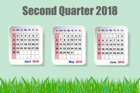 Kalender voor het tweede kwartaal van 2018 jaar op de groene achtergrond met groen gras aan de onderkant van de vector