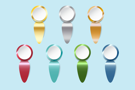 Infograph of white circles ready for your text with golden, silver, bronzed and colorful metal labels