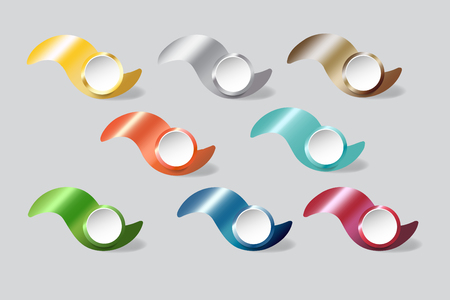 Colorful metal waves with white circles infographs ready for your text Illustration