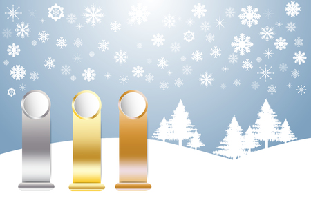 Golden, Silver and Bronzed Sports Rank ready for your text in winter snow landscape with trees and snowflakes