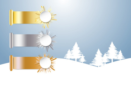 Golden, silver and bronzed sports rank and winter snow landscape