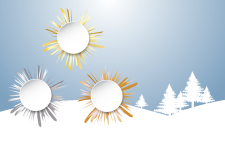 Sports Rank as a white circles with golden, silver and bronzed beams in winter landscape