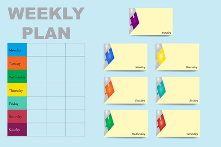 Table with a weekly schedule in the left part of the vector and a yellow cards with puzzle design for each day of the week on the right part of the vector are ready for your text. All on th blue background.