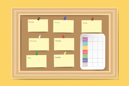 Cork board on the yellow wall with a weekly schedule and a yellow cards for each day of the week ready for your text.