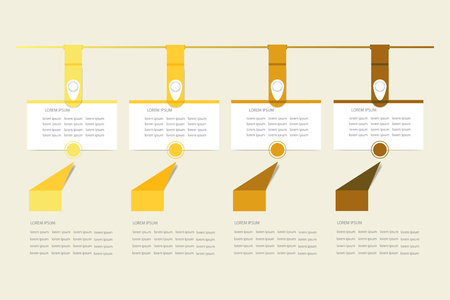 Set of infographic hanging rectangular labels in the shadows of yellow color. The arrows are pointing at the labels to describe the process. Everything is ready for your text.