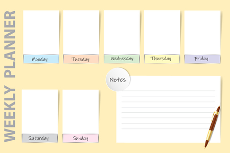 Weekly planner on the yellow background with a pen, chart for notes and white charts for each day of the week ready for your text.