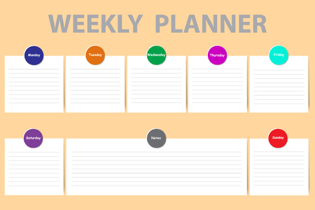 Weekly schedule with a chart for notes and white charts with color stripes for each day of the week ready for your text. Every chart is designed by color circle button with sign of the day.   イラスト・ベクター素材