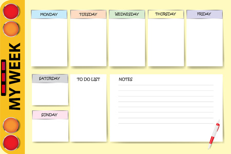 My week planner with a part of school bus contains chart for notes and white charts for each day of the week designed by different color are ready for your text.