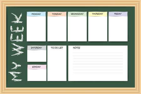 Il mio pianificatore settimanale come una lavagna con un grafico per note e grafici bianchi per ogni giorno della settimana progettato da colori diversi sono pronti per il tuo testo. Vettoriali