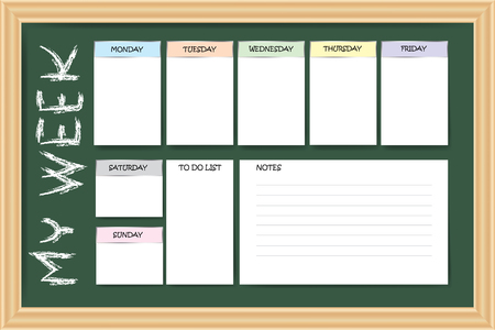 My week planner as a chalkboard with a chart for notes and white charts for each day of the week designed by different color are ready for your text.