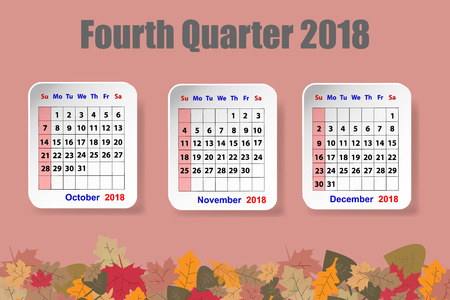 Calendar for the fourth quarter of 2018 year on the red ocher color background with colorful autumn leaves on the bottom edge of the vector