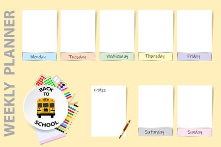 Vector de planificador semanal de regreso a la escuela. Planificador semanal con un autobús escolar en el centro del círculo blanco rodeado de útiles escolares. Los gráficos blancos vacíos para cada día de la semana están listos para su texto.