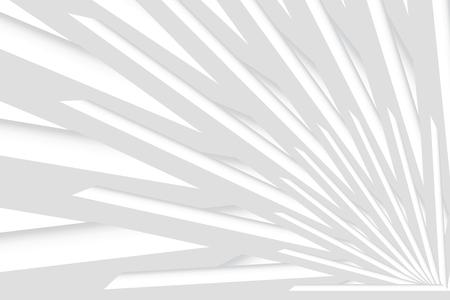 Zusammenfassung des weißen Musterraums. Rotierende Prismen wie Strahlen, die von der unteren rechten Ecke des Vektors kommen. Kann als Vorlage, Banner, Hintergrund usw. verwendet werden.