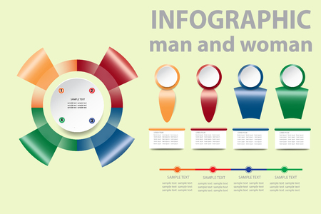 Modern man and woman infographic vector of colorful gradient circle template made of four red, green, blue and yellow metal shapes. Timeline, rectangle labels and symbols of man and woman are ready for your text. Vecteurs