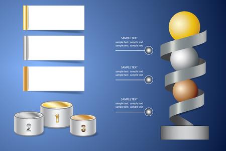 Infografía con etapa de ganadores, espiral de metal con bolas de oro, plata y bronce y etiquetas blancas en blanco listas para presentación de éxito, victoria, caminos hacia el éxito.