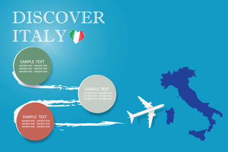 Discover  Italy blank template with an airplane flying to the map of Italy. The vector has a place for your photos or text. It can be used for travel agencies, transportattion or travel industry etc. Illusztráció
