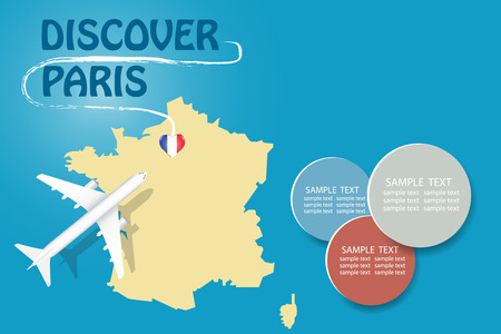 Discover Paris  blank template with an airplane flying to the map of France. The vector has a place for your photos or text. It can be used for travel agencies, transportattion or travel industry etc.