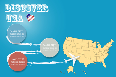 Discover USA blank template with an airplane flying to the map of United States. The vector has a place for your photos or text. It can be used for travel agencies, transportattion or travel industry etc. Illusztráció