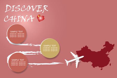Discover China blank template with an airplane flying to the map of China. The vector has a place for your photos or text. It can be used for travel agencies, transportattion or travel industry etc. Illusztráció