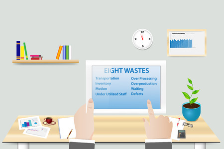 Lean Manufacturing Eight wastes concept showing manager in his workplace holding tablet with Eight wastes presentation.