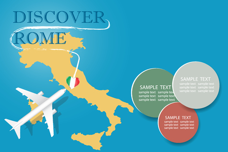 Discover Rome blank template with an airplane flying to the map of Italy. The vector has a place for your photos or text. It can be used for travel agencies, transportattion or travel industry etc.