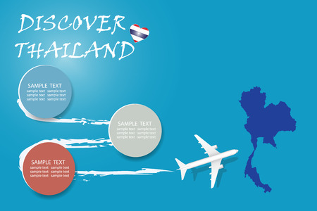 Discover Thailand  blank template with an airplane flying to the map of Thailand. The vector has a place for your photos or text. It can be used for travel agencies, transportation etc. Illusztráció
