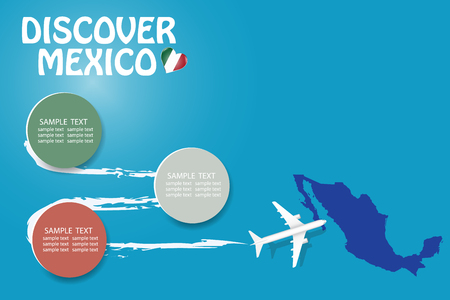 Discover Mexico blank template with an airplane flying to the map of Mexico. The vector has a place for your photos or text. It can be used for travel agencies, transportation etc.