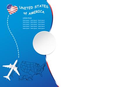 Concept vierge de voyage aux États-Unis avec avion, carte et emblème de l'État des États-Unis. Le vecteur a une place pour vos photos ou votre texte. Il peut être utilisé comme arrière-plan, modèle, bannière, etc.