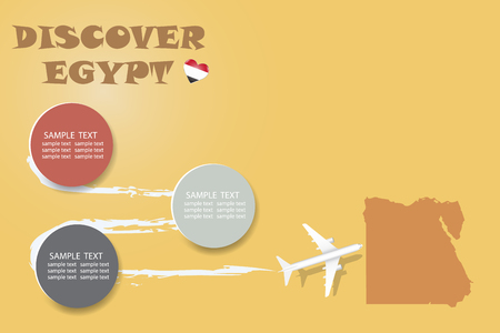 Discover Egypt blank template with an airplane flying to the map of Egypt. The vector has a place for your photos or text. It can be used for travel agencies, transportation etc. Illusztráció