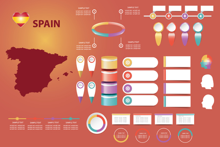 The blind map of Spain, timeline and a number of different blank labels ready for your text. Infographic for economic, sociological, demographic and other presentations.