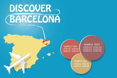 Discover Barcelona  blank template with an airplane flying to the map of Spain. The vector has a place for your photos or text. It can be used for travel agencies, transportattion or travel industry etc.