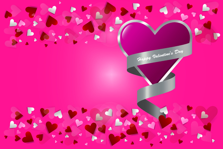 One pink heart with silver edge wrapped in silver ribbon is in the right side of the vector. Many small hearts are above and bottom of the vector. All is on a trendy pink background.