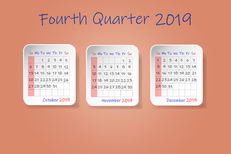 Calendar for fourth quarter of 2019 year. Week start Sunday. All on the ocher color background.