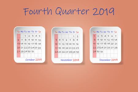 Calendrier pour le quatrième trimestre de l'année 2019. Début de la semaine dimanche. Le tout sur le fond de couleur ocre.