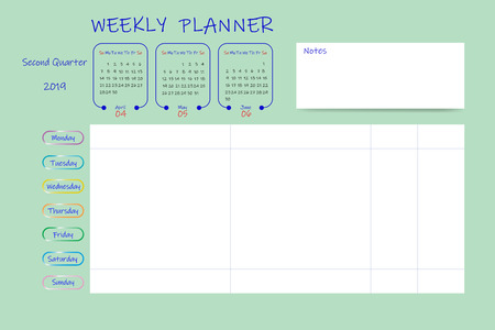 Calendar for second quarter of 2019 year with weekly planner chart and blank label for notes. Week start Sunday. Illustration
