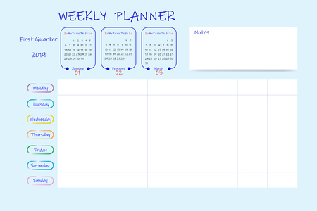 Calendar for first quarter of 2019 year with weekly planner chart and blank label for notes. Week start Sunday. Stock fotó - 116794860