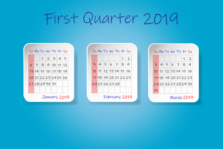 Calendar for first quarter of 2019 year. Week start Sunday. All on the blue background.