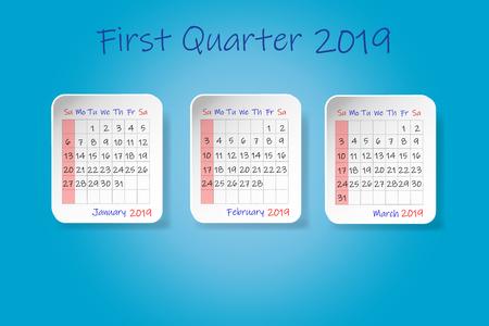 Calendrier pour le premier trimestre de l'année 2019. Début de la semaine dimanche. Le tout sur fond bleu.