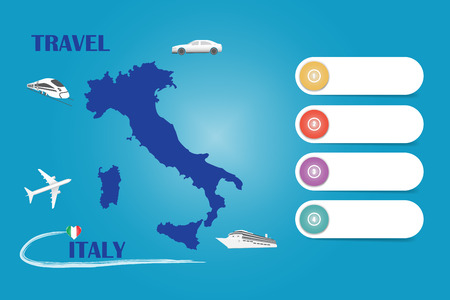 Travel Italy template vector for travel agencies etc. Vector showing the plane, car, train and ship approaching the blind Italian map. Four blank labels are ready for your text.