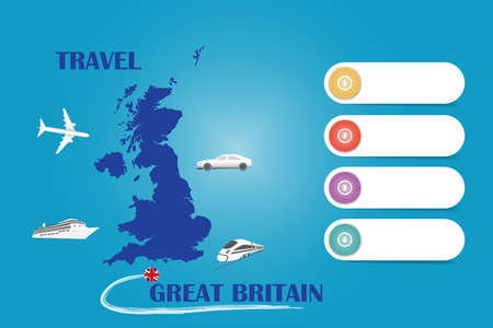 Travel Great Britain template vector for travel agencies etc. Vector showing the plane, car, train and ship approaching the blind map of UK. Four blank labels are ready for your text.